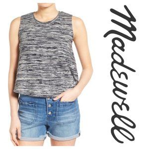 Madewell Tank Top Space Dye Knit in Black